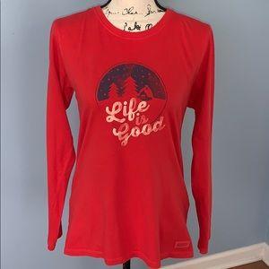 LIFE IS GOOD MEDIUM red long sleeve T-shirt